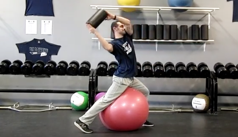 High Level Throwing: Stability Ball Lunge Hold Twists w/ Foam Roller